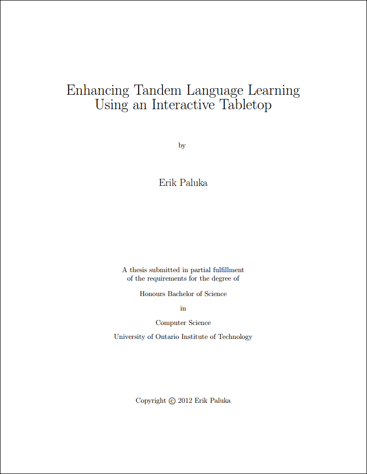 Thesis title page latex template